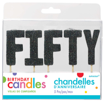Picture of BLACK GLITTER PICK CANDLE - FIFTY