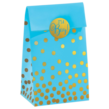 Image de BLUE FAVOR BAGS WITH GOLD POLKA DOTS