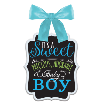 Picture of IT'S A BOY HANGING SIGN WITH BOW