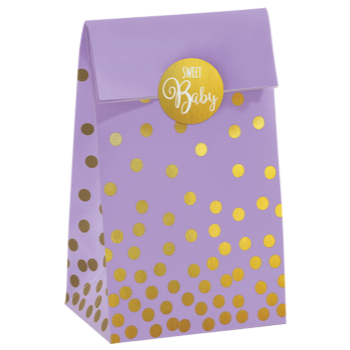 Picture of MULTI COLOUR  FAVOR BAGS WITH GOLD POLKA DOTS
