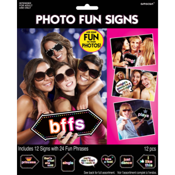 Picture of BACHELORETTE LET'S PARTY PHOTO FUN SIGN 12CT