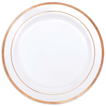 "Picture of 10"" PREMIUM WHITE PLATE WITH ROSE GOLD BORDER"