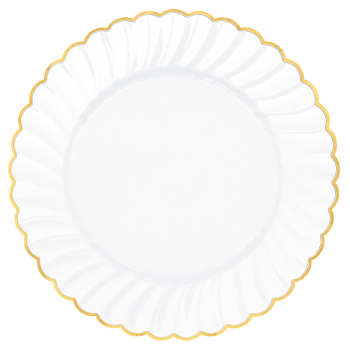"Picture of 7 1/2"" SCALLOPPED WHITE PLATE W/ GOLD TRIM 20CT"
