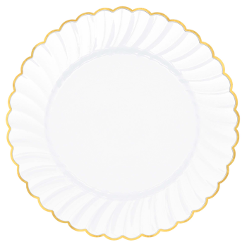 "Picture of 10"" SCALLOP WHITE PLATE WITH GOLD TRIM"