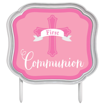 Picture of DECOR - COMMUNION CAKE TOPPER - PINK