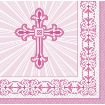 Picture of TABLEWARE - RADIANT CROSS PINK - BEVERAGE NAPKINS