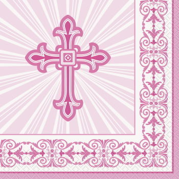 Picture of TABLEWARE - RADIANT CROSS PINK LUNCHEON NAPKINS