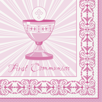 Picture of TABLEWARE - RADIANT CROSS PINK LUNCHEON NAPKINS - COMMUNION