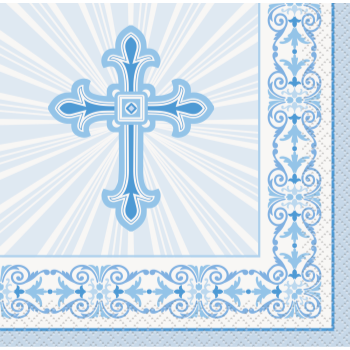 Picture of TABLEWARE - RADIANT CROSS BLUE - BEVERAGE NAPKINS