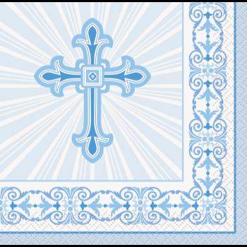 Image de TABLEWARE - RADIANT CROSS BLUE - BEVERAGE NAPKINS