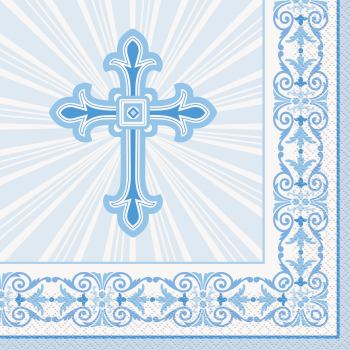 Image de TABLEWARE - RADIANT CROSS BLUE LUNCHEON NAPKINS