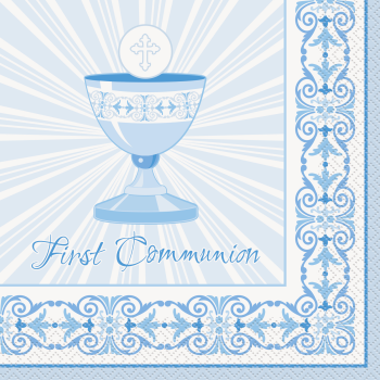 Picture of TABLEWARE - RADIANT CROSS BLUE LUNCHEON NAPKINS - COMMUNION