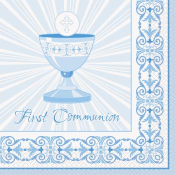 Image de TABLEWARE - RADIANT CROSS BLUE LUNCHEON NAPKINS - COMMUNION