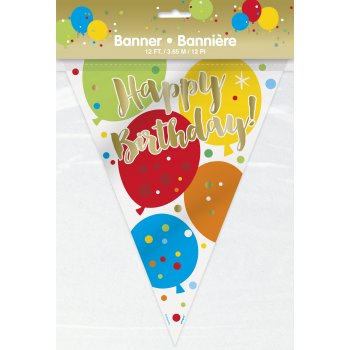 Picture of DECOR - GLITZY GOLD BALLOONS PLASTIC PENNANT BIRTHDAY BANNER