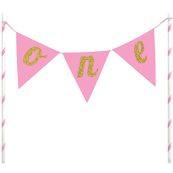 Image de DECOR - CAKE TOPPER ONE PENNANT BANNER - PINK AND GOLD