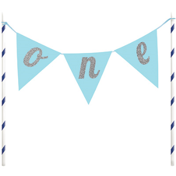 Image de DECOR - CAKE TOPPER ONE PENNANT BANNER - BLUE AND SILVER