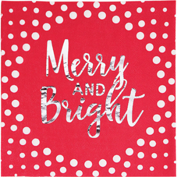 Image de TABLEWARE - HOLIDAY RED MERRY AND BRIGHT LUNCHEON NAPKINS - FOIL STAMPED