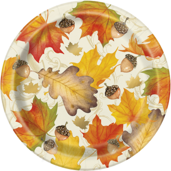 "Picture of GOLD FALL LEAVES  7"" PLATE"