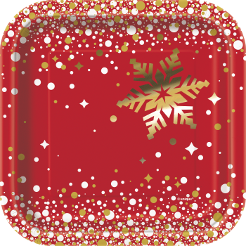 "Image de TABLEWARE - GOLD SPARKLE CHRISTMAS  - 7"" SQUARE PLATE"