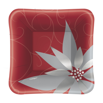 Image de TABLEWARE - ELEGANT RED CHRISTMAS  -5'' SQUARE PLATE