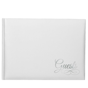 Picture of GUEST BOOK - WHITE WITH SILVER WRITING