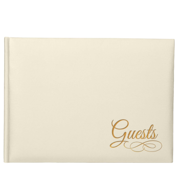 Picture of GUEST BOOK - IVORY WITH GOLD WRITING