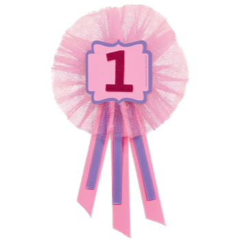 Image de WEARABLES - RIBBON PIN - FIRST BIRTHDAY PINK