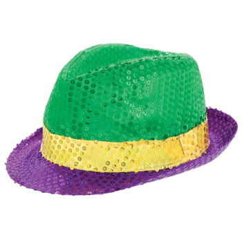 Picture of MARDI GRAS DELUXE SEQUIN FEDORA HAT