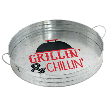 Image de TABLEWARE - BBQ ROUND METAL SERVING TRAY WITH HANDLE
