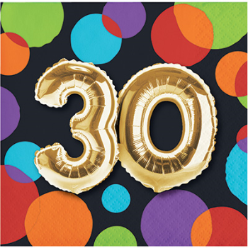 Picture of 30th - BALLOON BIRTHDAY BEVERAGE NAPKIN