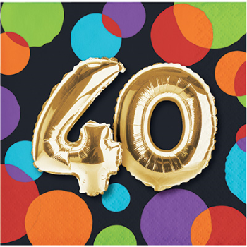 Picture of 40th - BALLOON BIRTHDAY BEVERAGE NAPKIN