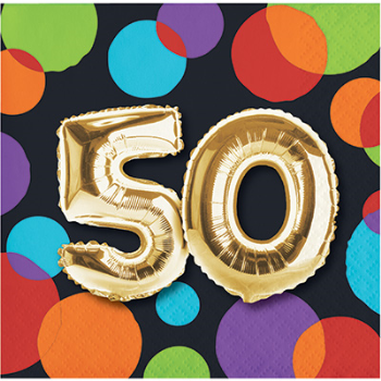 Picture of 50th - BALLOON BIRTHDAY - BEVERAGE NAPKIN