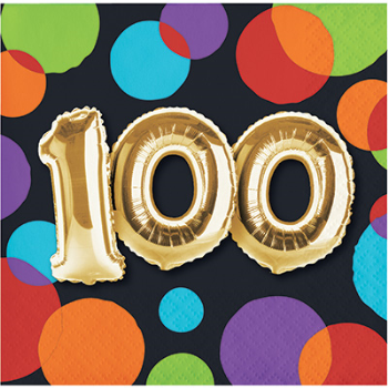 Picture of 100th - BALLOON BIRTHDAY - BEVERAGE NAPKIN