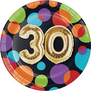 "Picture of 30th - BALLOON BIRTHDAY - 7"" ROUND PLATES"