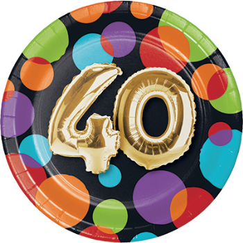 "Picture of 40th - BALLOON BIRTHDAY - 7"" ROUND PLATES"