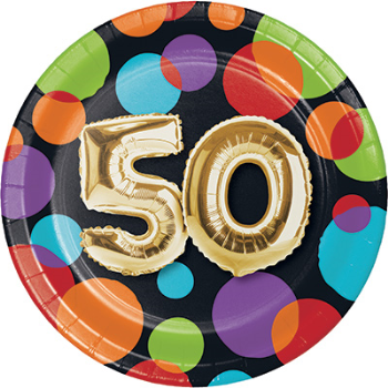 "Picture of 50th - BALLOON BIRTHDAY - 7"" ROUND PLATES"