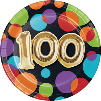"Picture of 100th - BALLOON IRTHBDAY - 7"" ROUND PLATES"