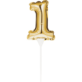 Picture of DECOR - 1st BALLOON CAKE TOPPER - GOLD