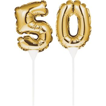 Image de 50th - BALLOON CAKE TOPPER GOLD