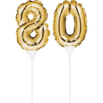 Image de 80th - BALLOON CAKE TOPPER - GOLD