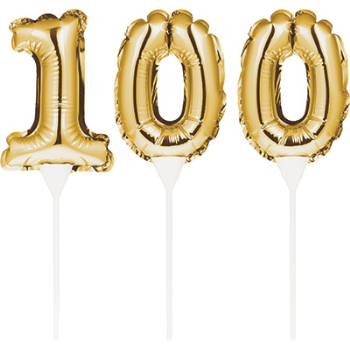 Picture of 100th - BALLOON CAKE TOPPER - GOLD