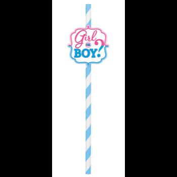 Image de GENDER REVEAL - GIRL OR BOY PAPER STRAW