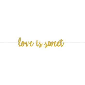 Picture of LOVE IS SWEET GOLD GLITTER BANNER