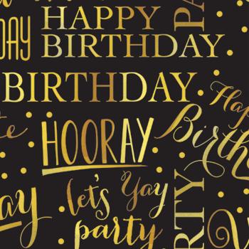 Picture of JUMBO GIFT WRAP - ELEGANT BIRTHDAY BLACK/GOLD