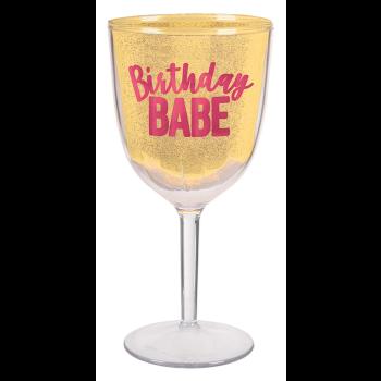 Picture of TABLEWARE - CONFETTI FUN 12oz WINE GOBLET - BIRTHDAY BABE