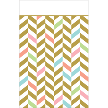 Picture of TABLEWARE - EAT DRINK & BE HAPPY PLASTIC TABLE COVER - PASTEL CHEVRON