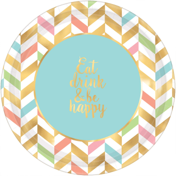 """Picture of TABLEWARE - EAT DRINK & BE HAPPY - 10"""" ROUND PLATE - PASTEL CHEVRON"""
