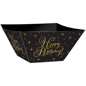 Picture of TABLEWARE -  HAPPY BIRTHDAY LARGE BLACK PAPER BOWL - GOLD