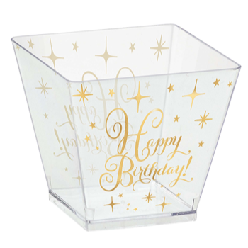 Picture of TABLEWARE - GOLD BIRTHDAY MINI 2oz PLASTIC CUBES - CLEAR