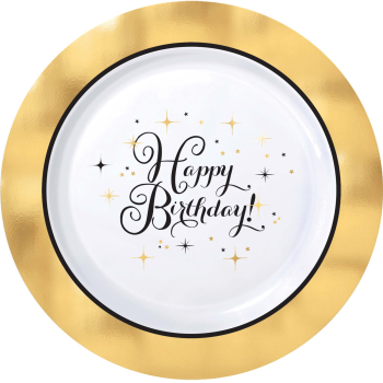 "Picture of TABLEWARE - PREMIUM GOLD BIRTHDAY - 10"" ROUND PLATES"